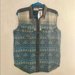 Vintage 1990s NWT blue plaid flannel button-down
